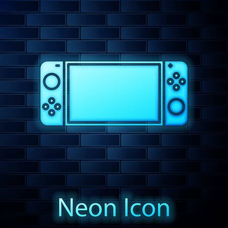 Glowing neon Portable video game console icon isolated on brick wall background. Gamepad sign. Gaming concept. Vector Illustration