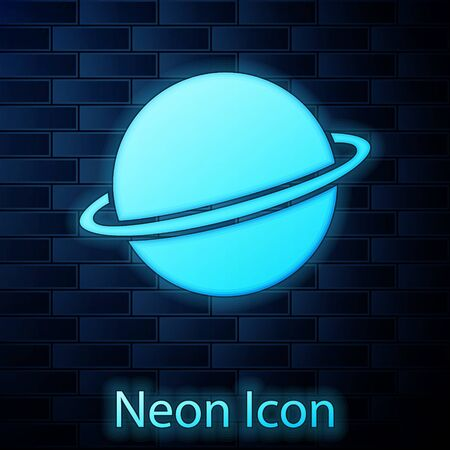 Glowing neon Planet Saturn with planetary ring system icon isolated on brick wall background. Vector Illustration Ilustração