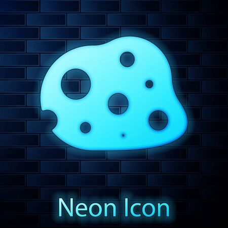 Glowing neon Asteroid icon isolated on brick wall background. Vector Illustration Çizim