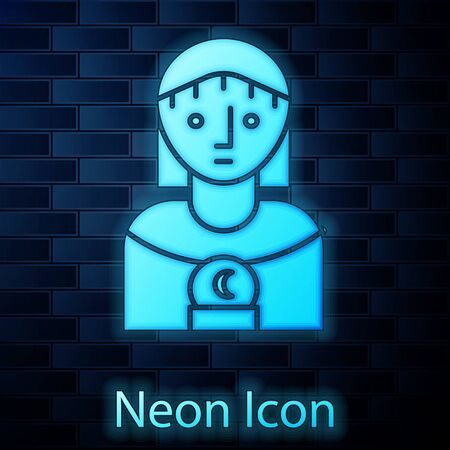 Glowing neon Astrology woman icon isolated on brick wall background. Vector Illustration Archivio Fotografico - 137884690
