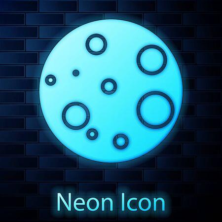 Glowing neon Moon icon isolated on brick wall background. Vector Illustration Illusztráció