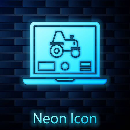 Glowing neon Laptop application for control a autonomous tractor on a smart farm icon isolated on brick wall background. Smart agriculture implement. Vector Illustration Ilustrace