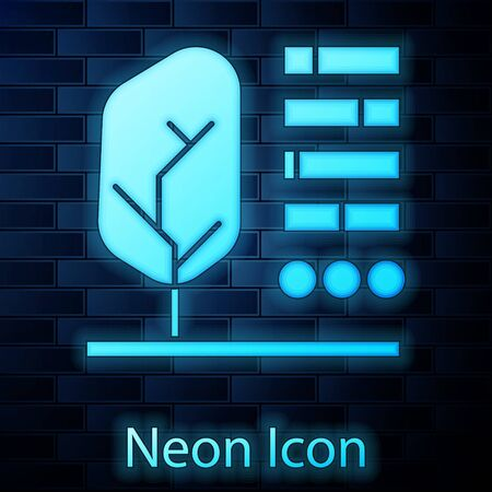 Glowing neon Plant status icon isolated on brick wall background. Vector Illustration