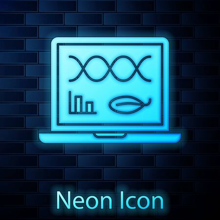 Glowing neon Genetic engineering modification on laptop icon isolated on brick wall background. DNA analysis, genetics testing, cloning. Vector Illustration