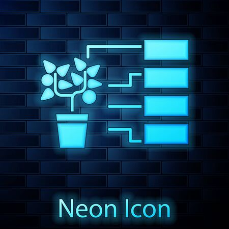 Glowing neon Flower analysis icon isolated on brick wall background. Vector Illustration