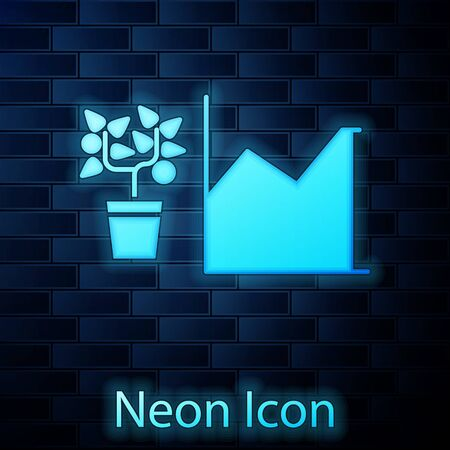 Glowing neon Flower statistics icon isolated on brick wall background. Vector Illustration
