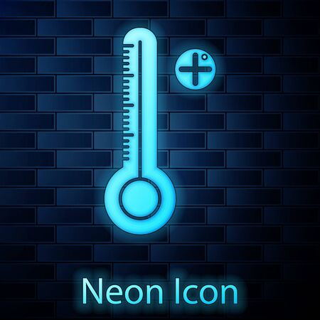 Glowing neon Medical digital thermometer for medical examination icon isolated on brick wall background. Vector Illustration 向量圖像