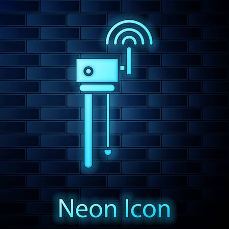 Glowing neon Router and wireless signal symbol icon isolated on brick wall background. Wireless modem router. Computer technology internet. Vector Illustration