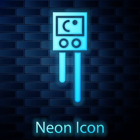 Glowing neon Temperature and humidity sensor icon isolated on brick wall background. Vector Illustration