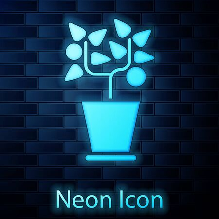Glowing neon Plant in pot icon isolated on brick wall background. Plant growing in a pot. Potted plant sign. Vector Illustration Stock fotó - 137884864