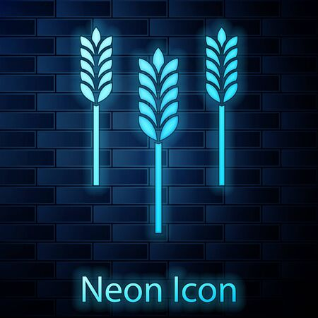 Glowing neon Cereals set with rice, wheat, corn, oats, rye, barley icon isolated on brick wall background. Ears of wheat bread symbols. Vector Illustration