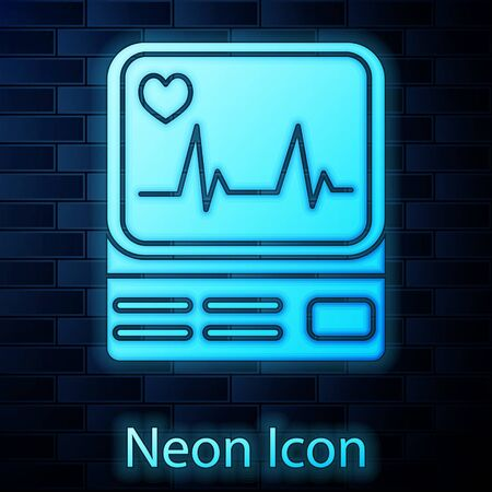 Glowing neon Computer monitor with cardiogram icon isolated on brick wall background. Monitoring icon. ECG monitor with heart beat hand drawn. Vector Illustration Illustration