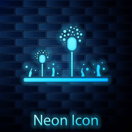 Glowing neon Mold icon isolated on brick wall background. Vector Illustration