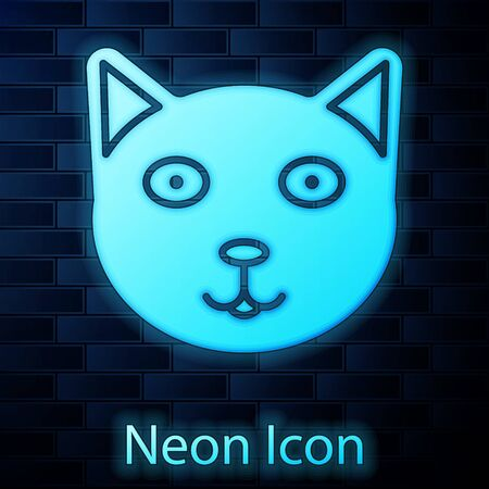 Glowing neon Pet icon isolated on brick wall background. Vector Illustration 向量圖像