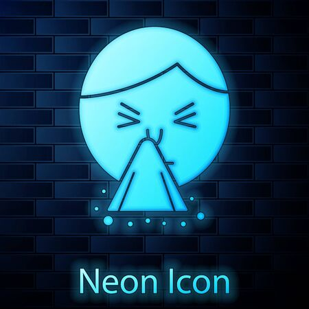 Glowing neon Man holding handkerchief or napkin to his runny nose icon isolated on brick wall background. Coryza desease symptoms. Vector Illustration