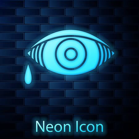Glowing neon Reddish eye due to viral, bacterial or allergic conjunctivitis icon isolated on brick wall background. Vector Illustration