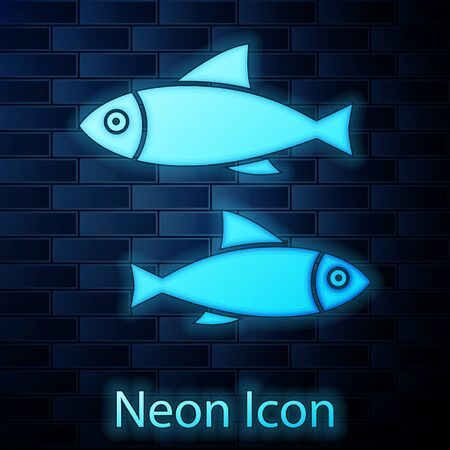 Glowing neon Fish icon isolated on brick wall background. Vector Illustration  イラスト・ベクター素材