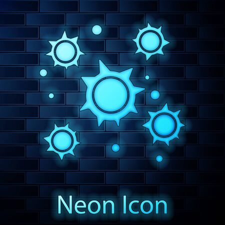 Glowing neon Bacteria icon isolated on brick wall background. Bacteria and germs, microorganism disease causing, cell cancer, microbe, virus, fungi. Vector Illustration