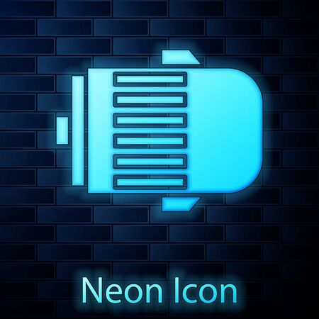 Glowing neon Electric engine icon isolated on brick wall background. Car alternator. Vector Illustration Banque d'images - 137885101
