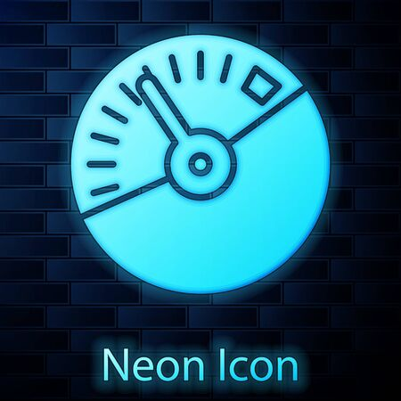 Glowing neon Speedometer icon isolated on brick wall background. Vector Illustration