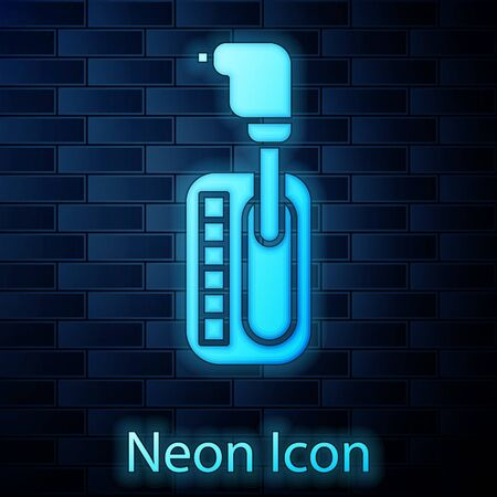 Glowing neon Gear shifter icon isolated on brick wall background. Transmission icon. Vector Illustration Vector Illustration