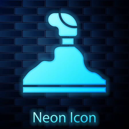 Glowing neon Gear shifter icon isolated on brick wall background. Transmission icon. Vector Illustration