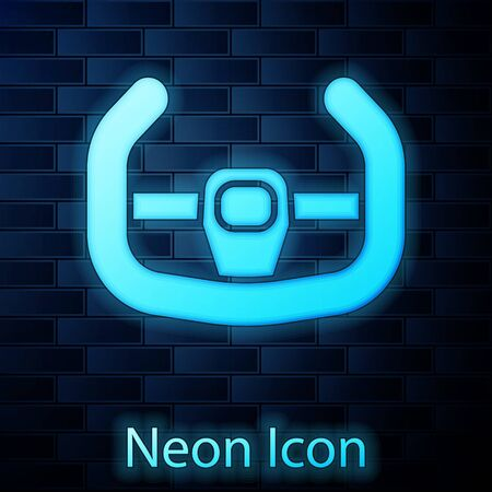 Glowing neon Sport steering wheel icon isolated on brick wall background. Car wheel icon. Vector Illustration