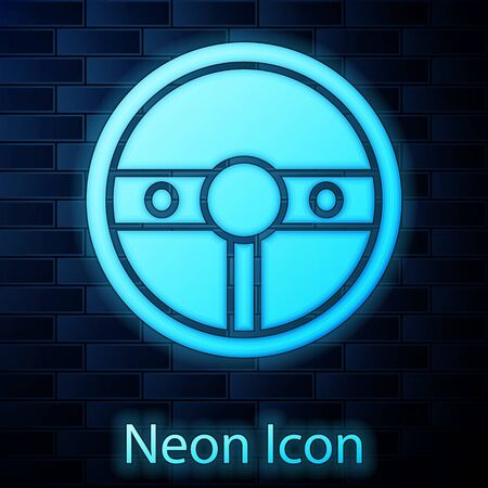 Glowing neon Steering wheel icon isolated on brick wall background. Car wheel icon. Vector Illustration