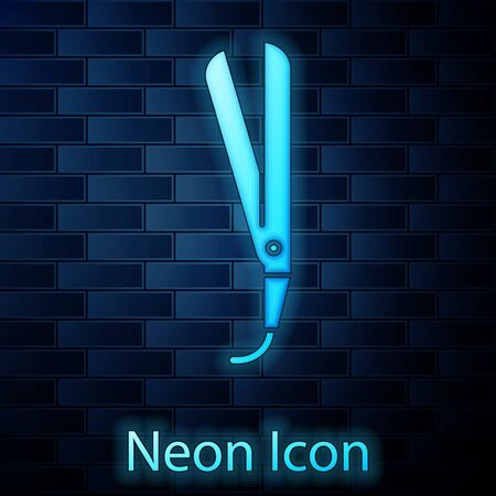 Glowing neon Curling iron for hair icon isolated on brick wall background. Hair straightener icon. Vector Illustration