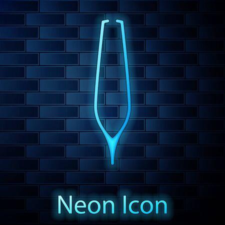 Glowing neon Eyebrow tweezers icon isolated on brick wall background. Cosmetic tweezers for ingrown hair. Vector Illustration 写真素材 - 137885201