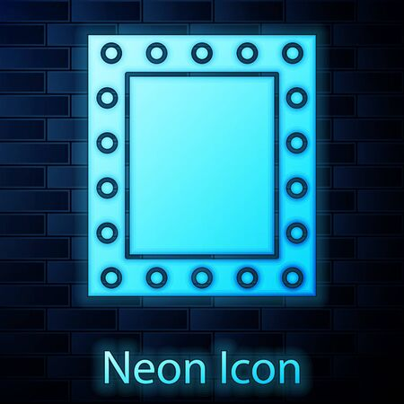 Glowing neon Makeup mirror with lights icon isolated on brick wall background. Vector Illustration