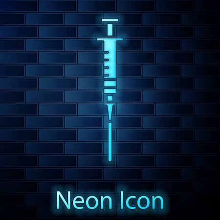 Glowing neon Syringe icon isolated on brick wall background. Syringe for vaccine, vaccination, injection, flu shot. Medical equipment. Vector Illustration Ilustrace