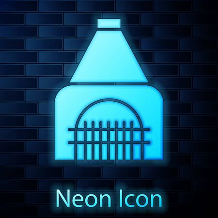 Glowing neon Interior fireplace icon isolated on brick wall background. Vector Illustration