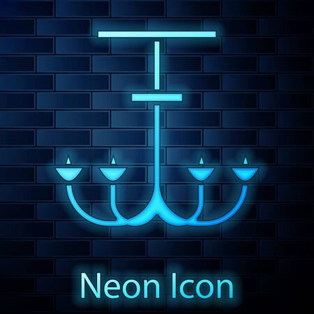 Glowing neon Chandelier icon isolated on brick wall background. Vector Illustration