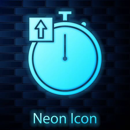 Glowing neon Stopwatch icon isolated on brick wall background. Time timer sign. Chronometer sign. Vector Illustration Çizim