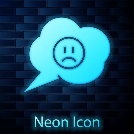 Glowing neon Speech bubble with sad smile icon isolated on brick wall background. Emoticon face. Vector Illustration