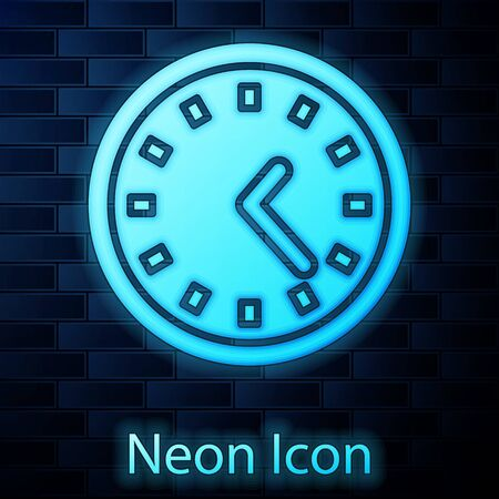 Glowing neon Clock icon isolated on brick wall background. Time symbol. Vector Illustration