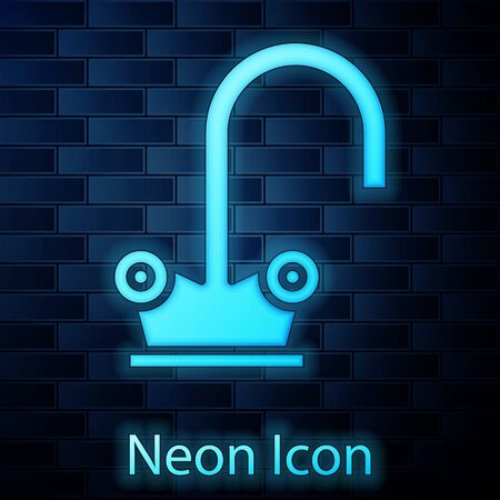 Glowing neon Water tap icon isolated on brick wall background. Vector Illustration
