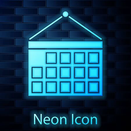 Glowing neon Calendar icon isolated on brick wall background. Event reminder symbol. Vector Illustration