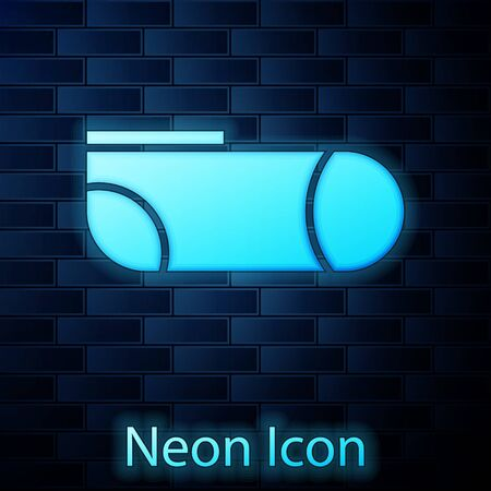 Glowing neon Sport socks icon isolated on brick wall background. Vector Illustration