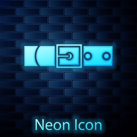 Glowing neon Leather belt with buttoned steel buckle icon isolated on brick wall background. Vector Illustration