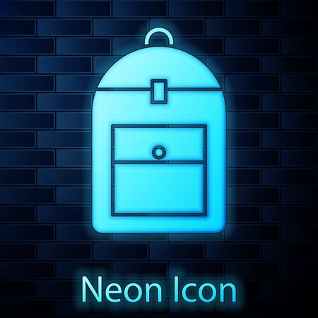 Glowing neon Backpack icon isolated on brick wall background. Vector Illustration