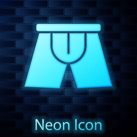 Glowing neon Men underpants icon isolated on brick wall background. Man underwear. Vector Illustration
