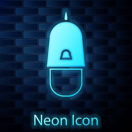 Glowing neon Police cap with cockade icon isolated on brick wall background. Police hat sign. Vector Illustration