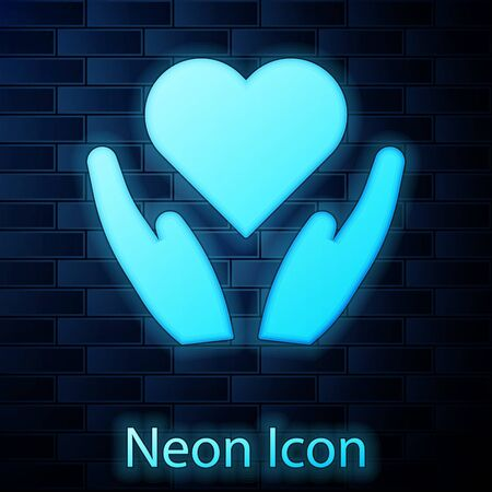 Glowing neon Heart on hand icon isolated on brick wall background. Hand giving love symbol. Valentines day symbol. Vector Illustration