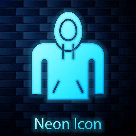 Glowing neon Hoodie icon isolated on brick wall background. Hooded sweatshirt. Vector Illustration Archivio Fotografico - 137885056