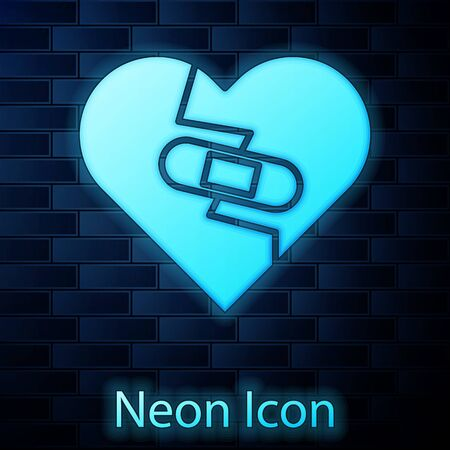 Glowing neon Healed broken heart or divorce icon isolated on brick wall background. Shattered and patched heart. Love symbol. Valentines day. Vector Illustration