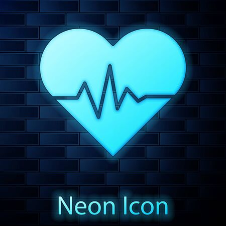 Glowing neon Heart rate icon isolated on brick wall background. Heartbeat sign. Heart pulse icon. Cardiogram icon. Vector Illustration