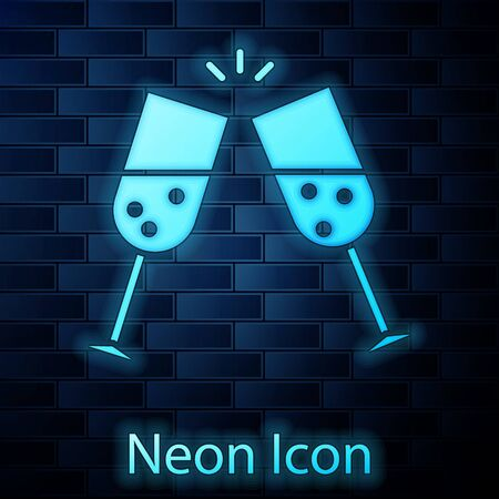 Glowing neon Glass of champagne icon isolated on brick wall background. Vector Illustration 일러스트