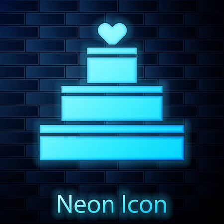 Glowing neon Wedding cake with heart icon isolated on brick wall background. Valentines day symbol. Vector Illustration Ilustração